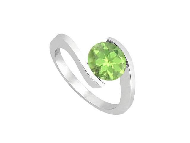 14K White Gold Solitaire Peridot Ring with One Carat Total Gem Weight