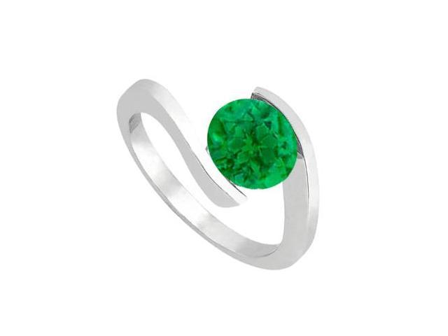 One Carat Natural Green Emerald Solitaire Ring in 14K White Gold Finish