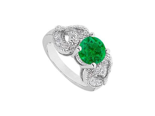 14K White Gold Fashion Heart CZ with Green Simulated Emerald Ring 2.50 Carat Total gem Weight