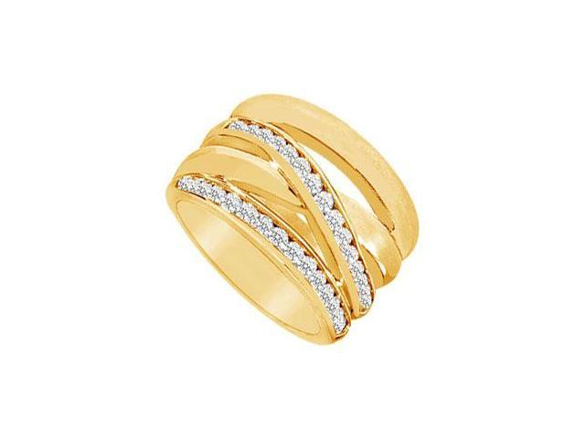 Diamond Crossover Ring  14K Yellow Gold - 0.75 CT Diamonds