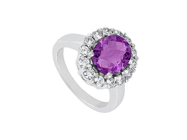 Amethyst Ring with Triple AAA Quality CZ in 14K White Gold 3.50 Carat Total Gem Weight