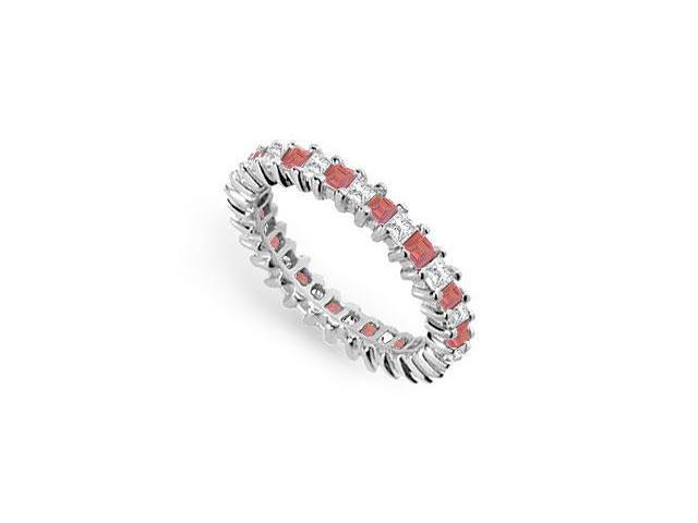 Diamond and Ruby Eternity Band  18K White Gold  2.00 CT TGW