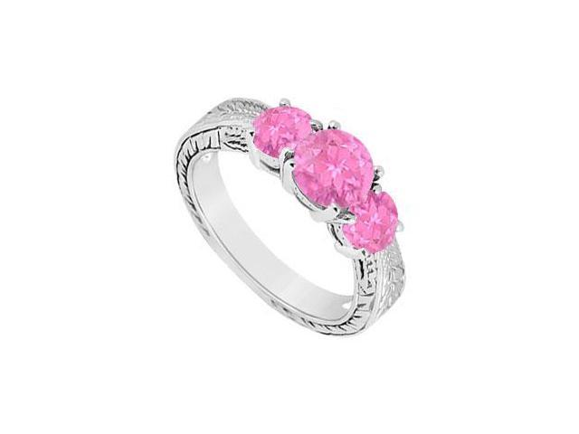 Pink Sapphire Three Stone Ring  14K White Gold - 1.00 CT TGW