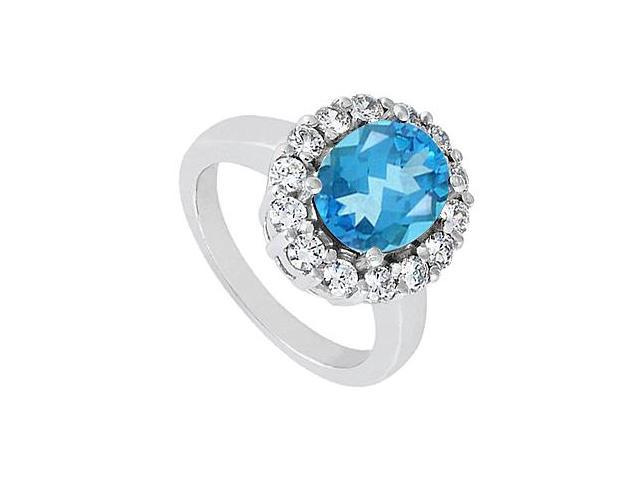 Fashion Blue Topaz and Triple AAA Quality CZ Ring in 14K White Gold 3.50 Carat Total Gem Weight