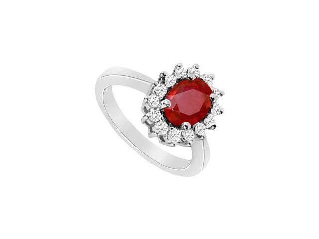 Fashion Ring in 10K white Gold with GF Bangkok Ruby and Cubic Zirconia 1.75 Carat TGW