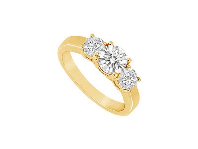 Three Stone Diamond Ring  14K Yellow Gold - 0.75 CT Diamonds