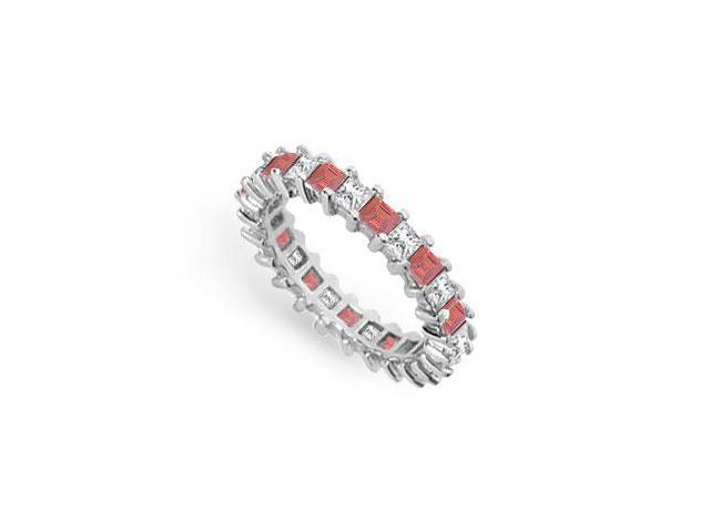 Diamond and Ruby Eternity Band  18K White Gold  3.00 CT TGW