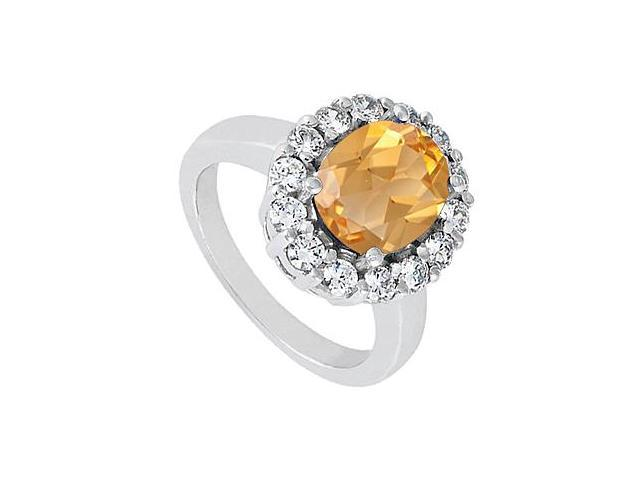 3 carat Oval Citrine Ring with Triple AAA Quality CZ in 14K White Gold 3.50 Carat Totaling