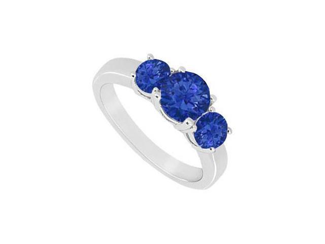 Created Sapphire Three Stone Ring 10K White Gold 1.50 CT TGW