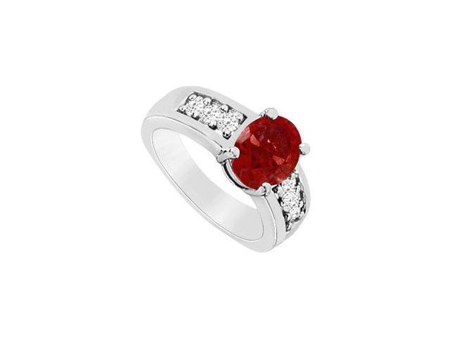 10K White Gold GF Bangkok Ruby and CZ Fashion Ring with 1.50 Carats TGW