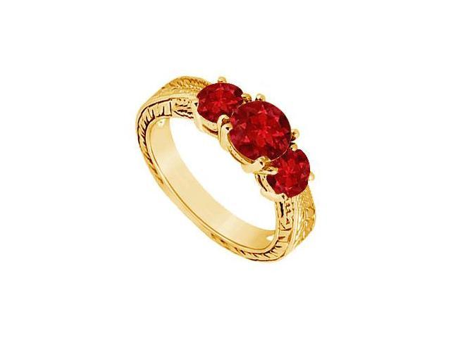 Ruby Three Stone Ring  14K Yellow Gold - 1.00 CT TGW