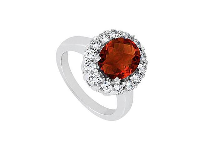 Triple AAA Quality CZ and Garnet Ring of 3.50 Carat in 14K White Gold Finish