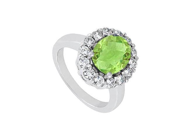 14K White Gold Fashion Oval Shape Peridot Ring with Cubic Zirconia 3.50 Carat Total Gem Weight