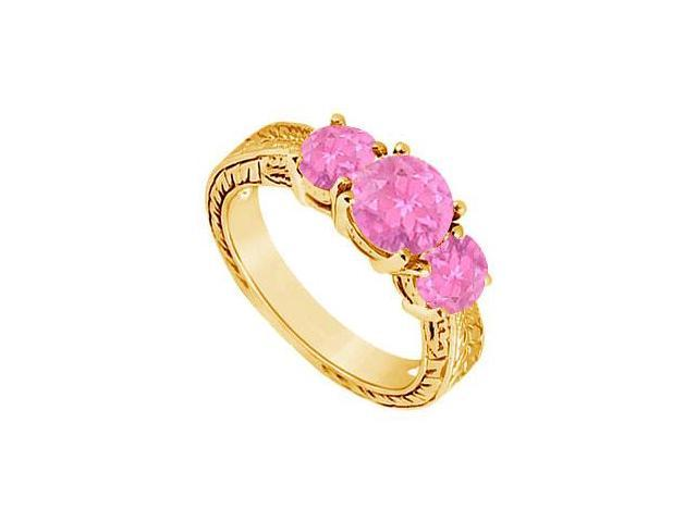 Pink Sapphire Three Stone Ring  14K Yellow Gold - 1.25 CT TGW
