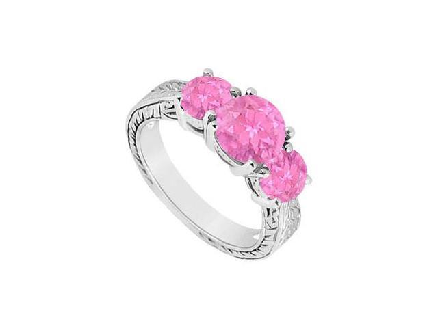 Pink Sapphire Three Stone Ring  14K White Gold - 1.50 CT TGW