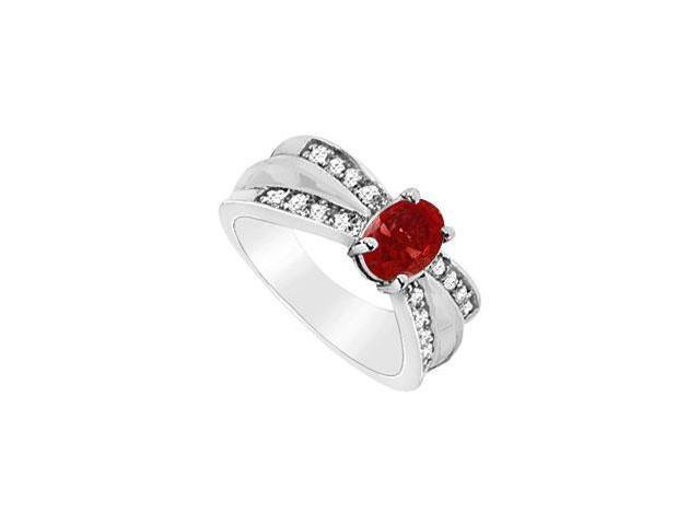 GF Bangkok Ruby Fine Fashion Ring with Round CZ in 10K White Gold 1.75 TGW