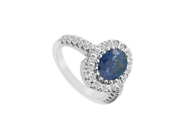 Diffuse Sapphire and Cubic Zirconia Ring with TGW 2.50 Carat in 10K White Gold