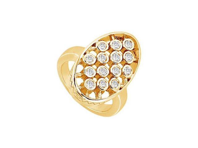 Diamond Oval Ring  14K Yellow Gold - 0.50 CT Diamonds