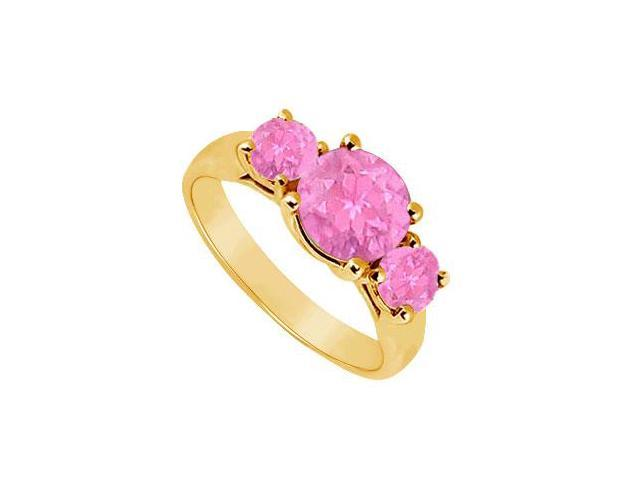 Three Stone Pink Sapphire Ring  14K Yellow Gold - 1.75 CT TGW