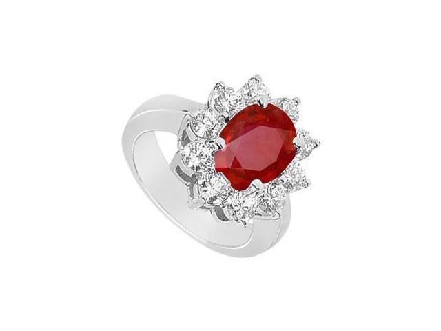 GF Bangkok Ruby and Cubic Zirconia Fashion Ring with 3.25 Carats TGW in 10K White Gold