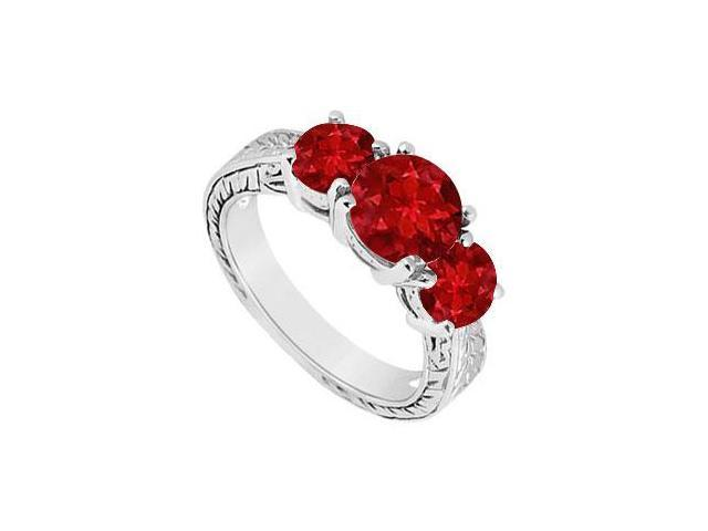 Ruby Three Stone Ring  14K White Gold - 1.50 CT TGW