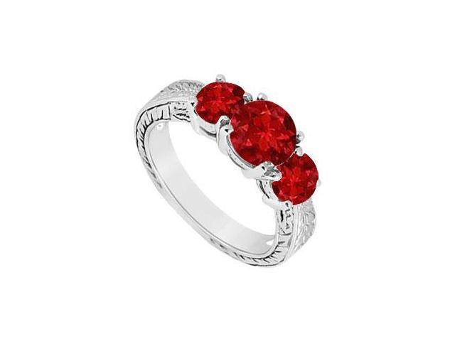 Ruby Three Stone Ring  14K White Gold - 1.25 CT TGW