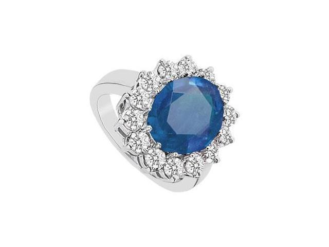 10K White Gold Diffuse Sapphire Fashion Ring with Cubic Zirconia 5.75 Carat TGW