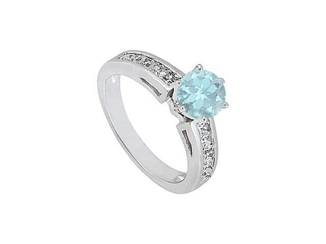 March Birthstone Aquamarine and CZ Engagement Rings 14K White Gold 1.50.ct.tgw