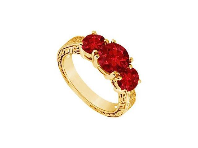 Ruby Three Stone Ring  14K Yellow Gold - 1.50 CT TGW
