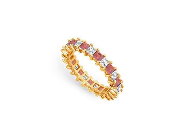 Diamond and Ruby Eternity Band  18K Yellow Gold  3.00 CT TGW