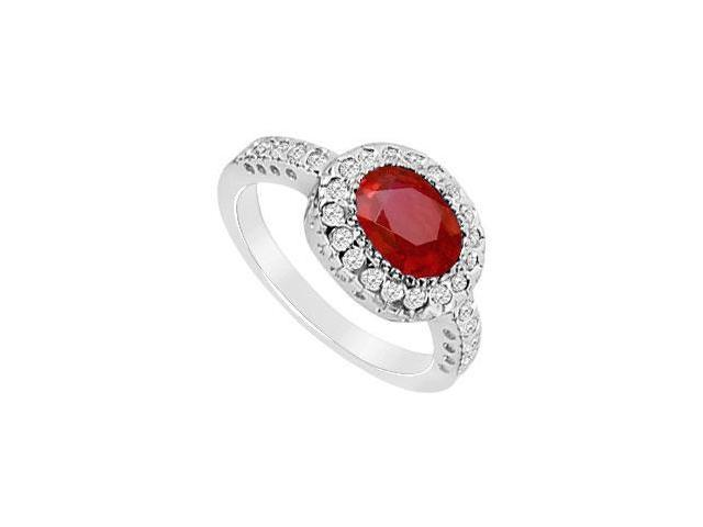 10K White Gold GF Bangkok Ruby and Pave Set CZ Ring with 1.75 carat TGW