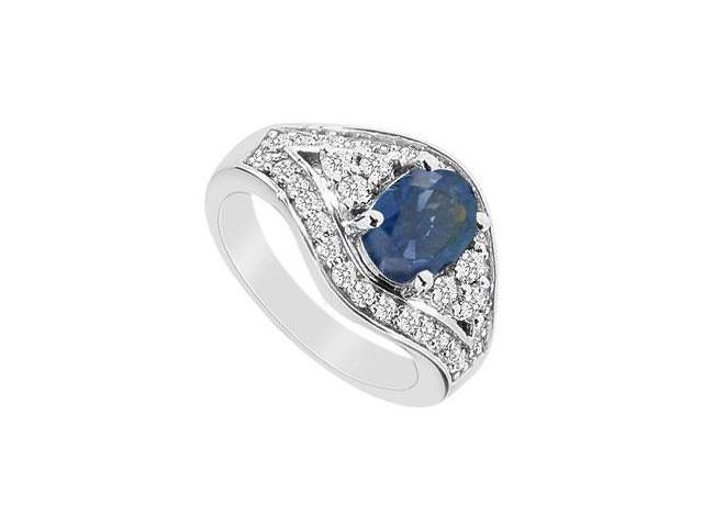 2 Carat Fashion Ring Diffuse Sapphire and Cubic Zirconia in 10K White Gold