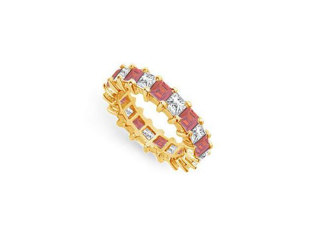 Diamond and Ruby Eternity Band  18K Yellow Gold  4.00 CT TGW
