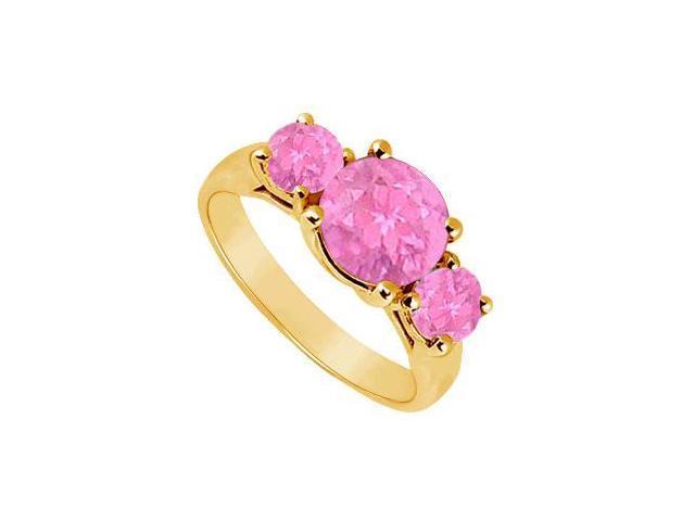 Three Stone Pink Sapphire Ring  14K Yellow Gold - 2.00 CT TGW