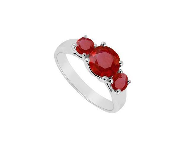 Three Stone Ruby Ring  14K White Gold - 0.75 CT TGW