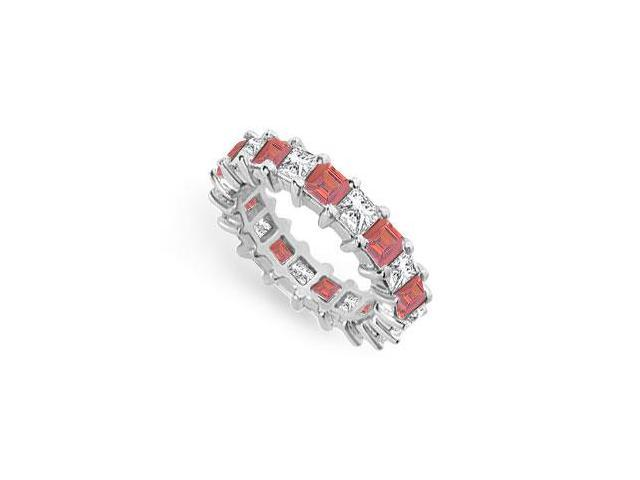 Diamond and Ruby Eternity Band  18K White Gold  4.00 CT TGW