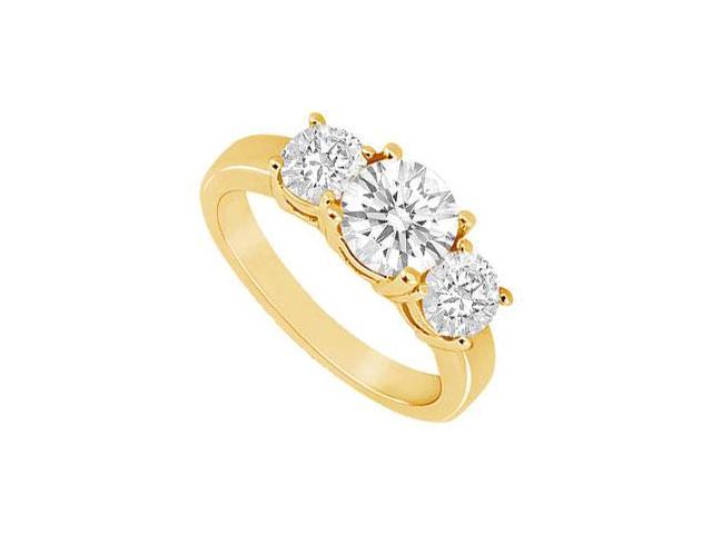 Three Stone Diamond Ring  14K Yellow Gold - 1.50 CT Diamonds