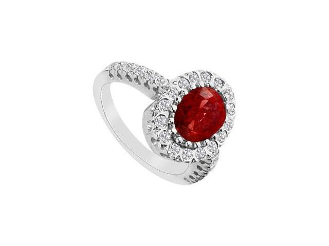 Fashion Ring with GF Bangkok Ruby and Cubic Zirconia in 10K White Gold 2.50 Carats TGW