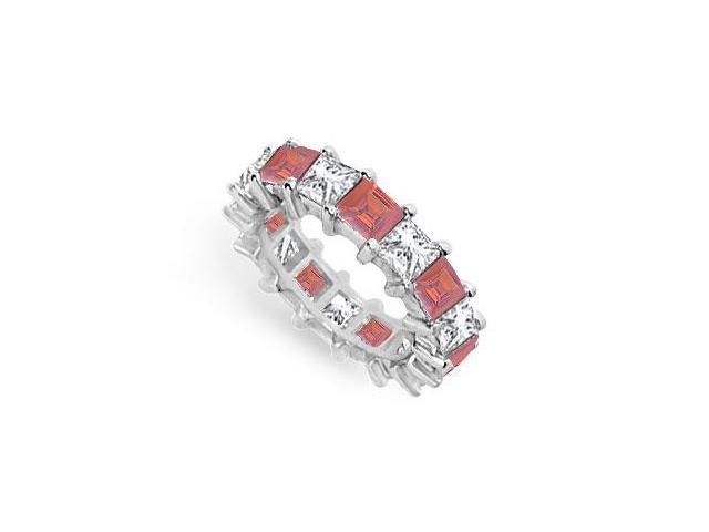 Diamond and Ruby Eternity Band  18K White Gold  5.00 CT TGW