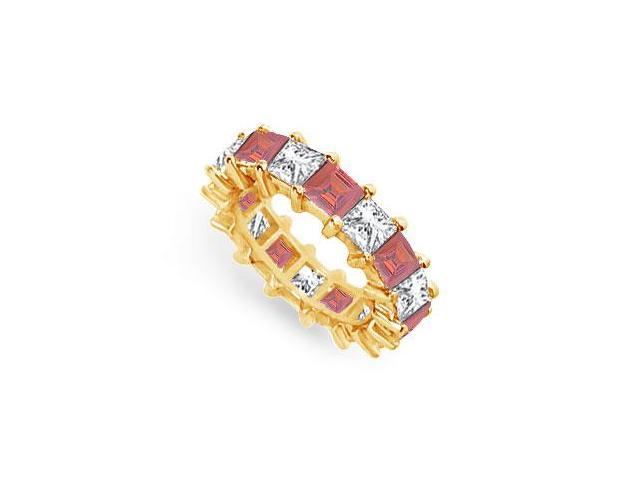 Diamond and Ruby Eternity Band  18K Yellow Gold  5.00 CT TGW