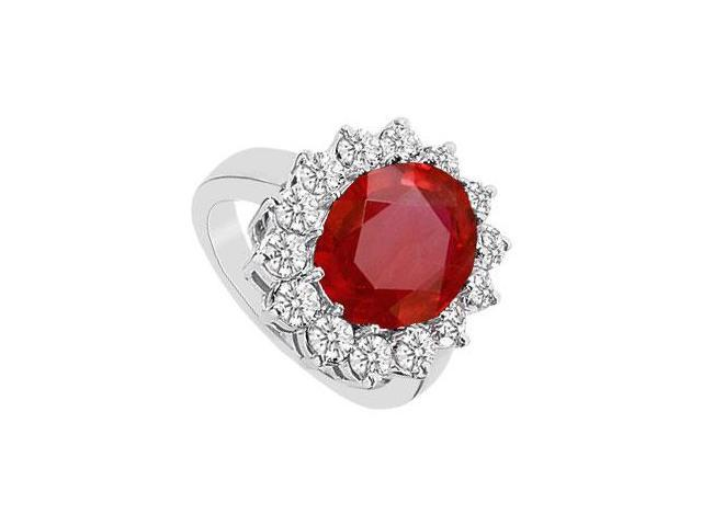 Oval GF Bangkok Ruby Ring with Cubic Zirconia in 10K White Gold 5.75 Carat TGW