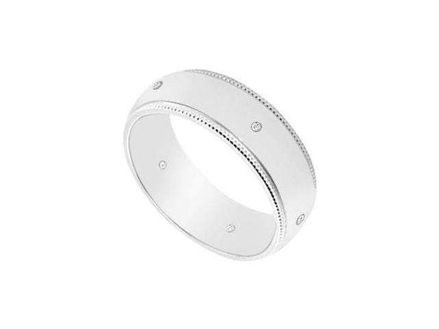 6MM Comfort Fit Milgrain Wedding Band with Diamonds  14K White Gold - 0.05 CT TDW