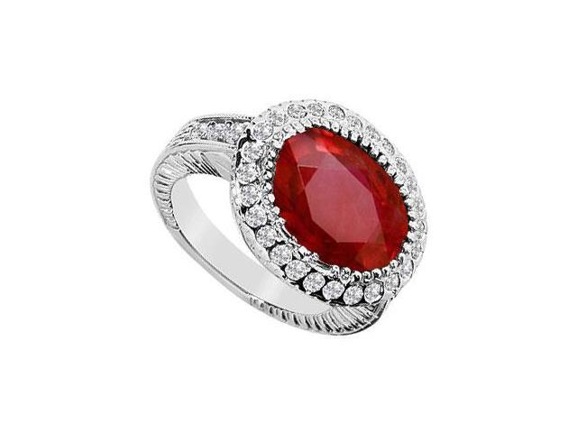 GF Bangkok Ruby and Cubic Zirconia Ring in 10K White Gold with 8.25 Carats TGW