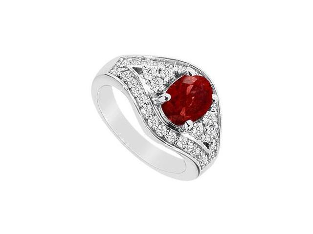 10K White Gold GF Bangkok Ruby and Cubic Zirconia Ring with 2.00 Carats TGW