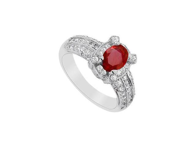 1 carat GF Bangkok Ruby Ring with Cubic Zirconia in 10K White Gold 1.75 Carat TGW