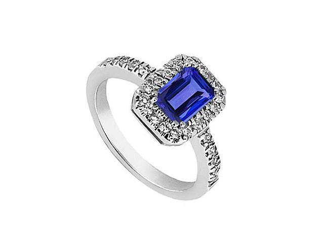14K White Gold Simulated Blue Sapphire and CZ Ring with 3.30 Carat Total Gem Weight