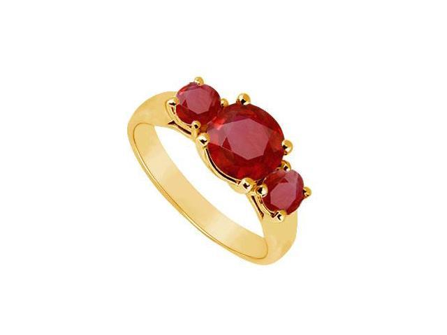 Three Stone Ruby Ring  14K Yellow Gold - 1.25 CT TGW
