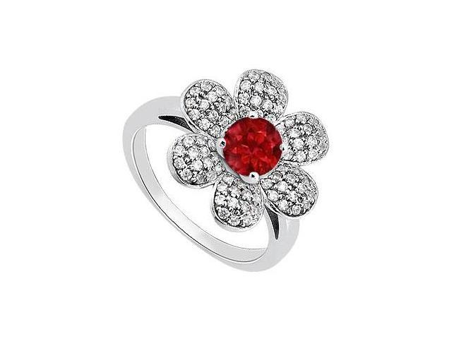 14K White Gold Flower Design Ring of Natural Ruby and Diamonds with 1.50 Carat Total Gem Weight