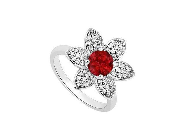 Natural Ruby Flower Style Ring Accented Diamonds in 14K White Gold 1.25 Carat Total Gem Weight
