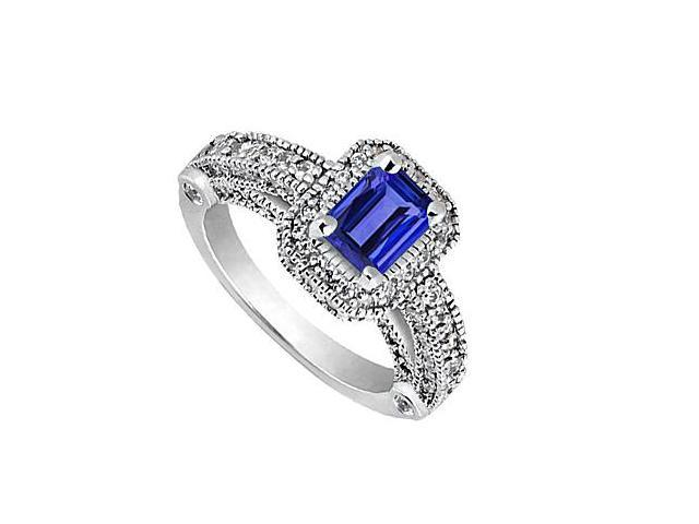 Emerald Cut Simulated Blue Sapphire and CZ Ring in 14K White Gold 4.30 Carat Total Gem Weight